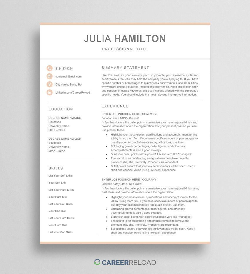 Feminine Resume Template For Word Free Download Career Reload In 2021 Resume Template Word Resume Template Free Resume Design Template 2 column resume template word