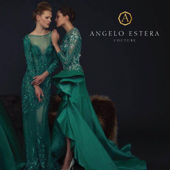 Emerald  green from the fall winter 16/17 collection of Angelo Estera couture #dubai #couture #partydresses #inspiration #adcampaign #fallwinter16/17