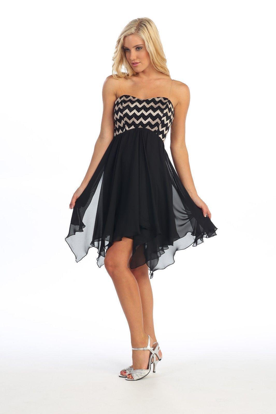 Strapless chiffon cocktail dress empire waist formal glittering