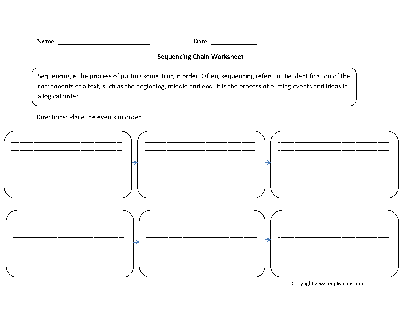 Sequencing Chain Worksheets