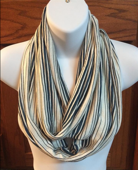 The fabric on this teal stripes on ivory background infinity scarf drapes perfectly!  #thecountrygranary