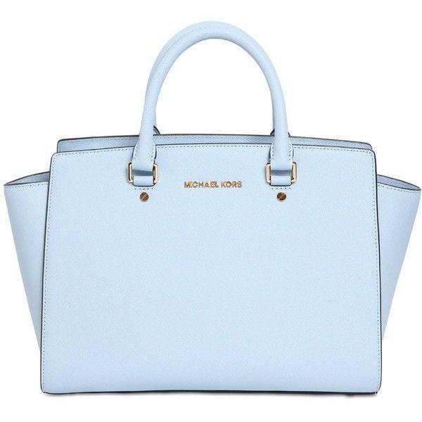 1b5785cfbfbb MICHAEL MICHAEL KORS Selma Saffiano Leather Top Handle Bag - Light... found  on Polyvore #bluehandbags
