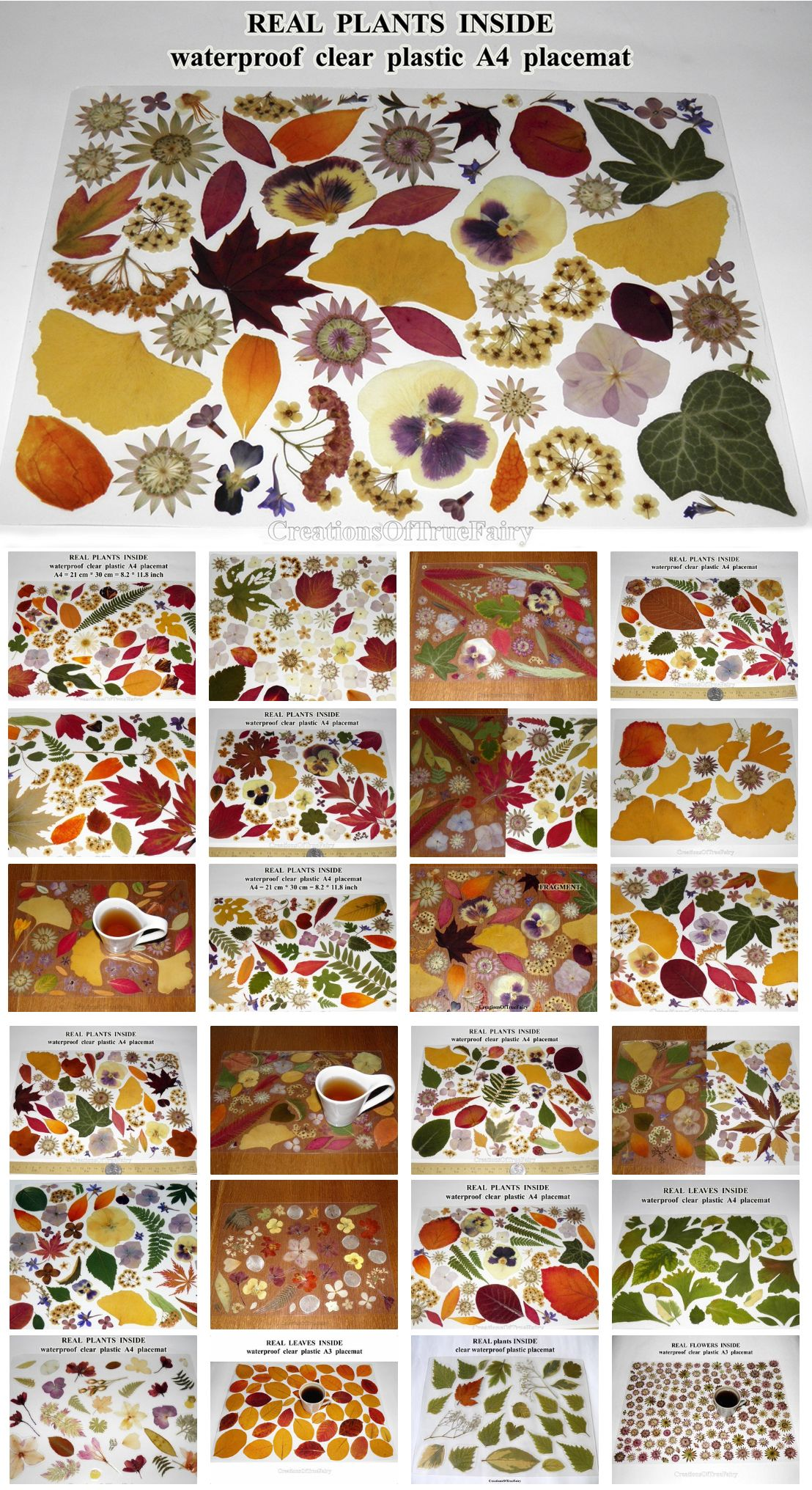 Vinyl Placemats With Real Flowers And Leaves In 2020 Botanical Placemats Flower Decorations Dinner Table Decor
