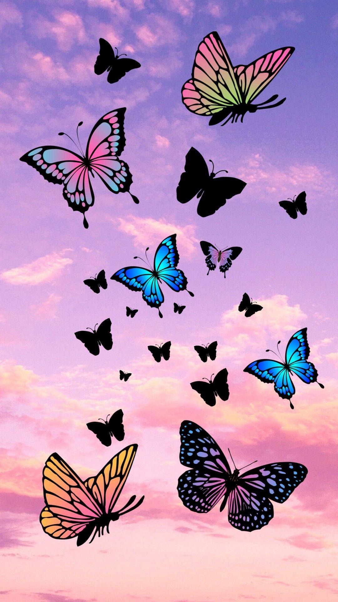 Butterflies In The Pink Sky Butterfly Wallpaper Iphone Butterfly Wallpaper Purple Butterfly Wallpaper