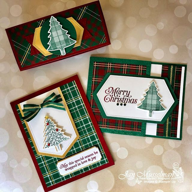 i♥Cards2 - Perfectly Plaid stamp set - Wrapped In Plaid SDSP - Pine Tree Punch - Stitched Nested Labels - 2019 Holiday Catalog - Gift Card Holder - Treat Holder #sapinnoel2019