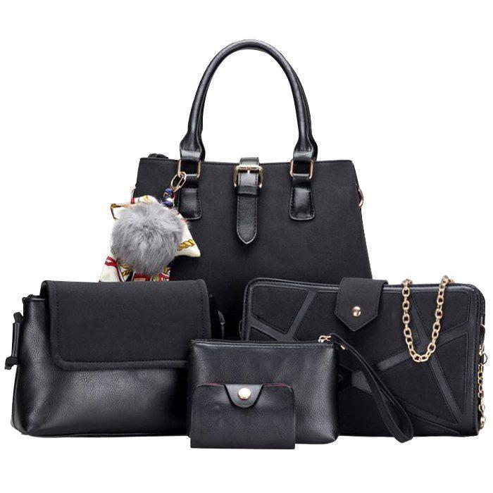 d4ba5dc6f6 Scarf Pompon Suede 5 Pieces Handbag Set In Black