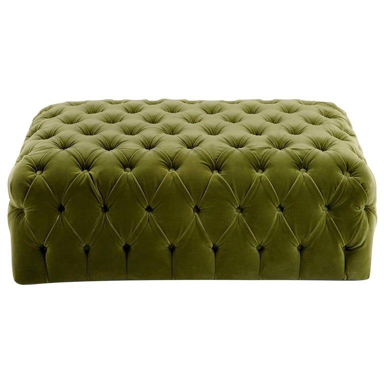 Green Rectangular Capitonne Pouf In 2020 Ottoman Pouf Ottoman