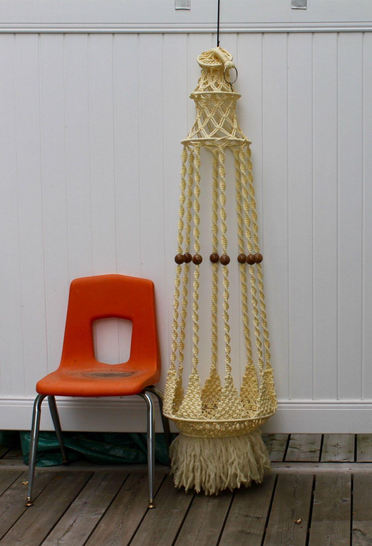 fibre arts macrame vintage macrame plant holder mad men design