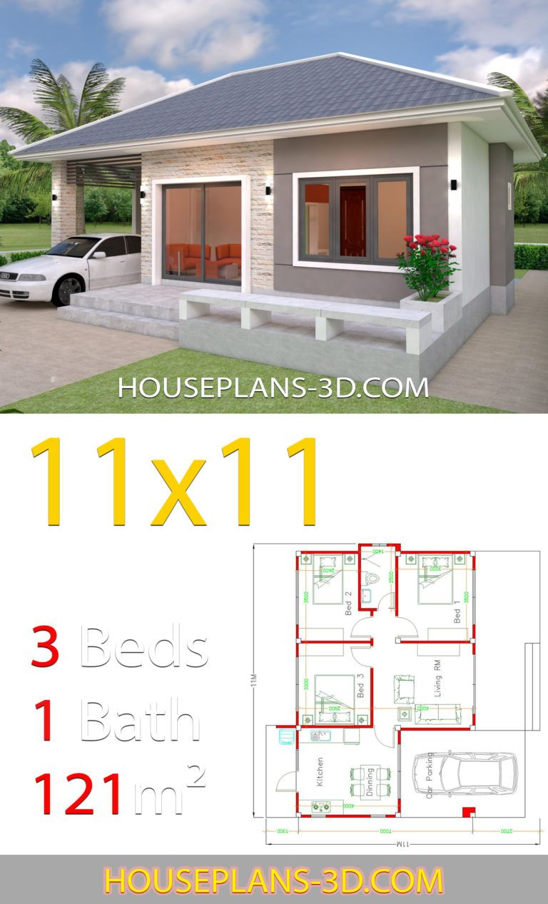 House Design 11x11 With 3 Bedrooms Hip Roof House Plans 3d Projetos De Casas Pequenas Projetos De Casas Simples Projetos De Casas