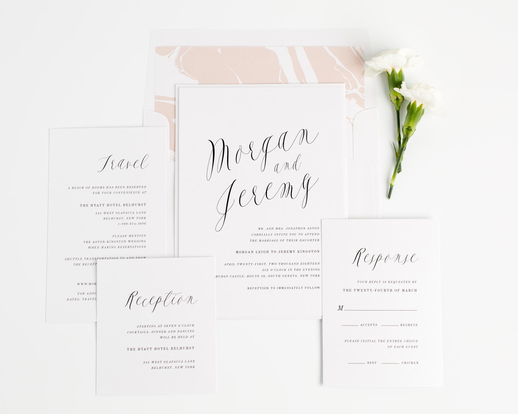 Ethereal Calligraphy Wedding Invitations Wedding