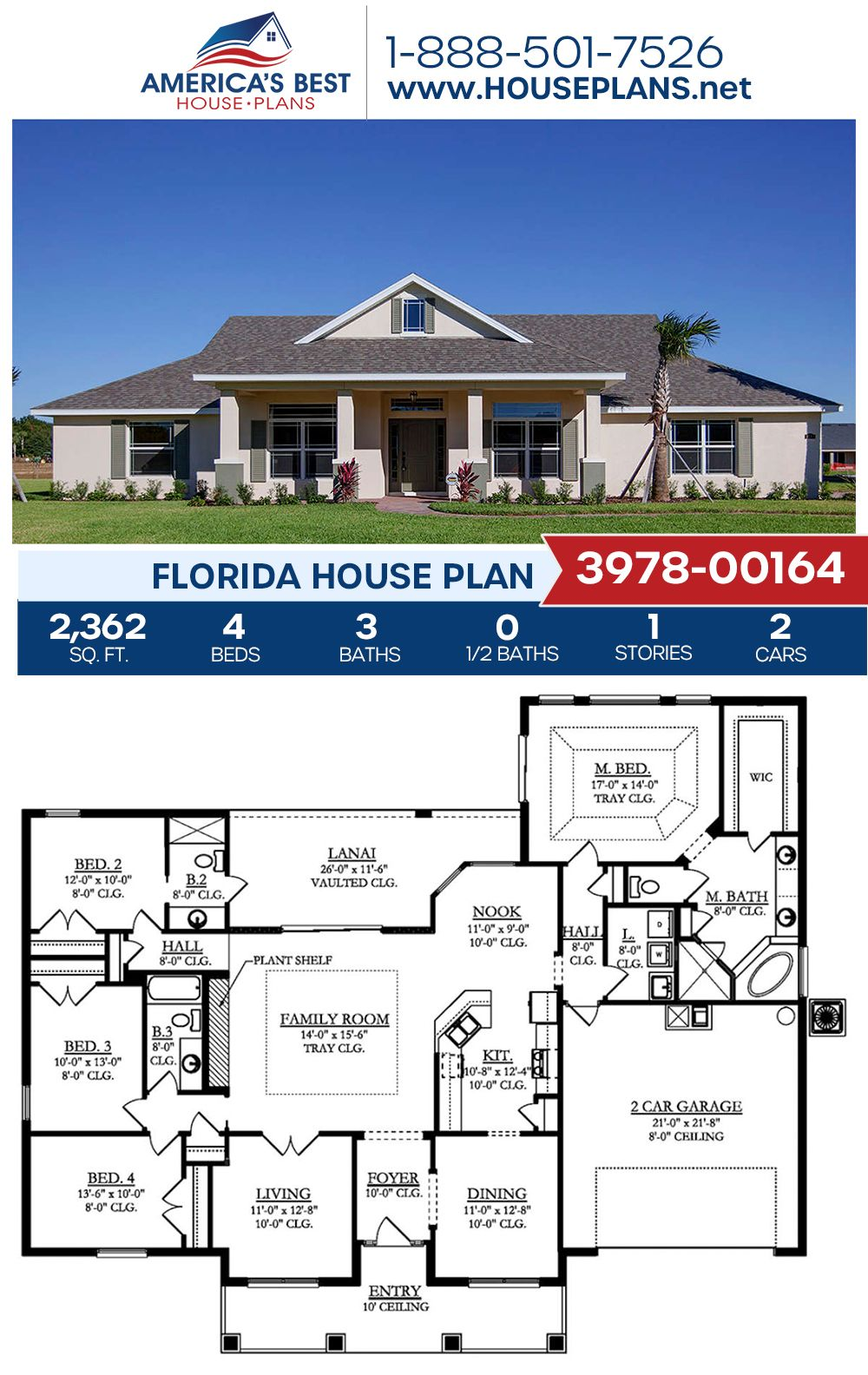 House Plan 3978 00164 Florida Plan 2 362 Square Feet 4 Bedrooms 3 Bathrooms Florida House Plans Building Plans House Family House Plans