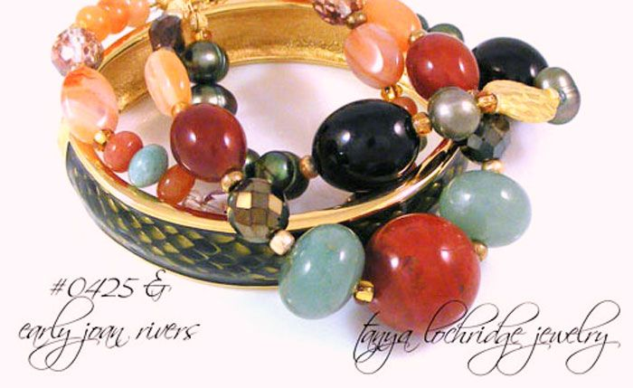 Tanya Lochridge Jewelry Red Poppy Jasper, Carnelian, Smoky Quartz & Aventurine Multi-Strand Braclet stacked with early Joan Rivers Classics Collection enamel bangle. Can you tell I love this bangle? #joanriversclassicscollection #tanyalochridgejewelry