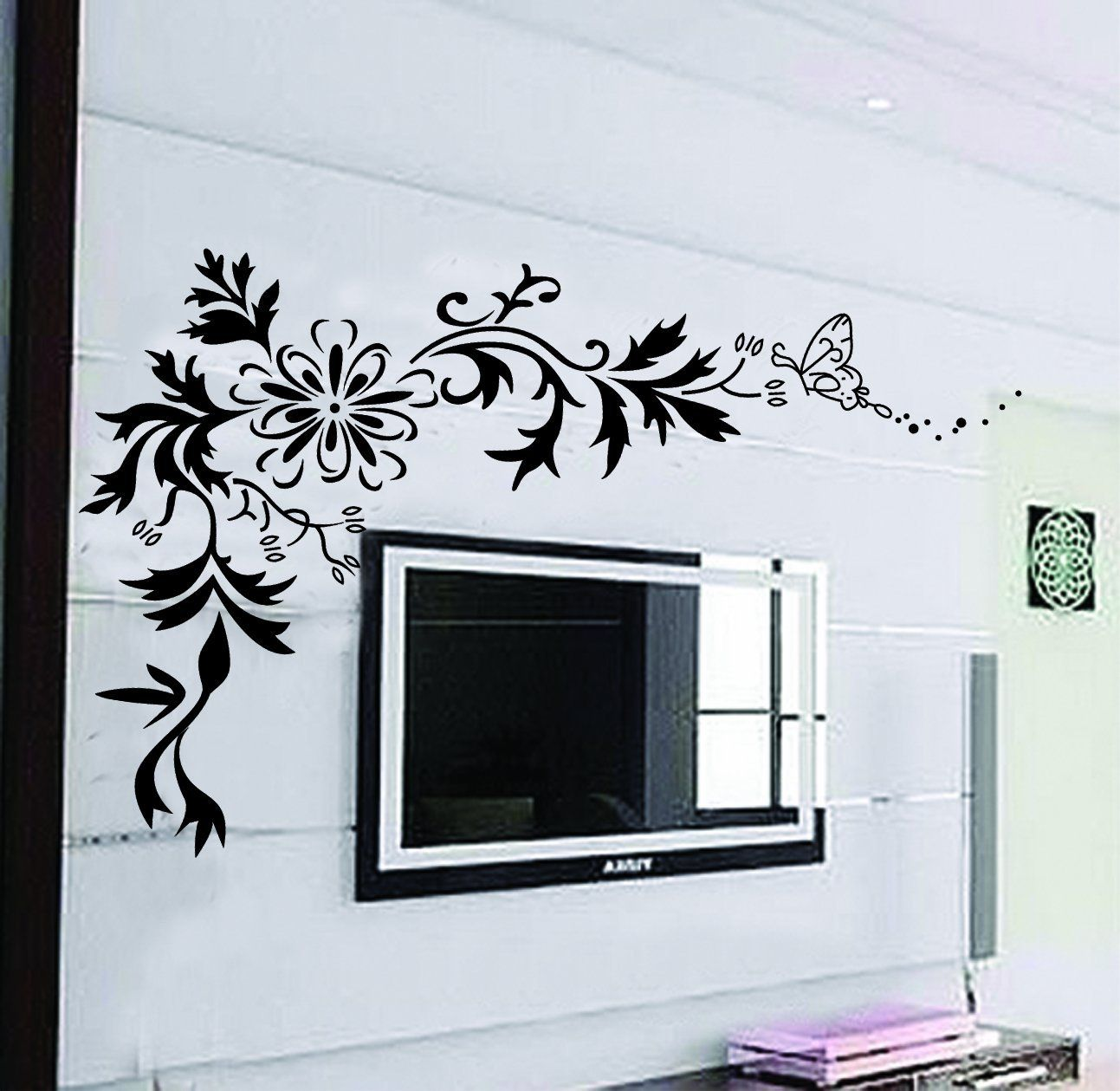 large wall decals X Contemporary Black Flowers Floral Tribal Butterfl