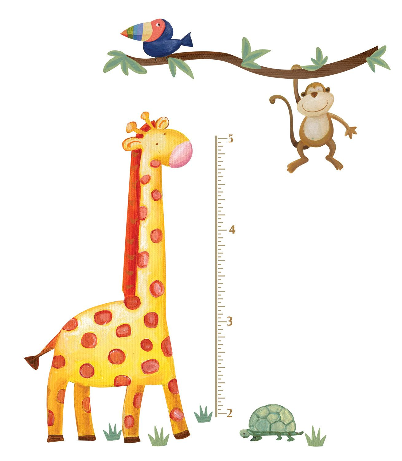 Room mates peel stick jungle adventure giraffe growth chart jungle adventure giraffe peel and stick growth chart wall decal geenschuldenfo Image collections