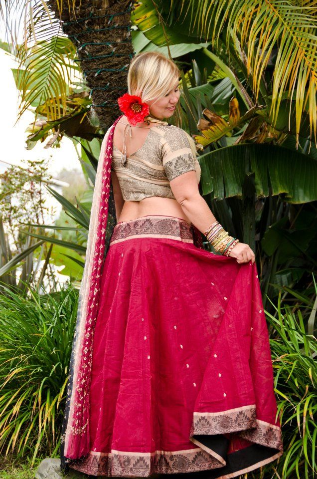 $140.00 South Indian Gopi Skirt Outfit – Red | Belly Dance | Pinterest