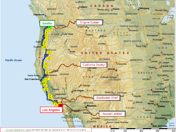 Map Of Coast Starlight Seattle To Los Angeles So Close To Having A