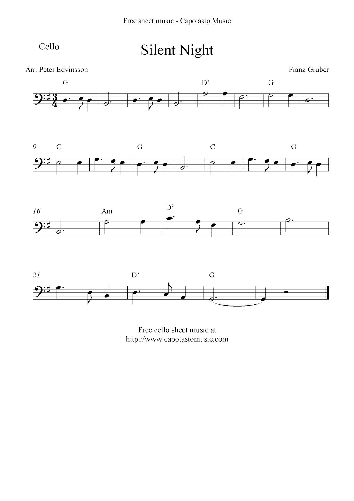 Free Sheet Music Scores Silent Night Free Christmas Cello Sheet Music Cello Sheet Music Cello Music Sheet Music