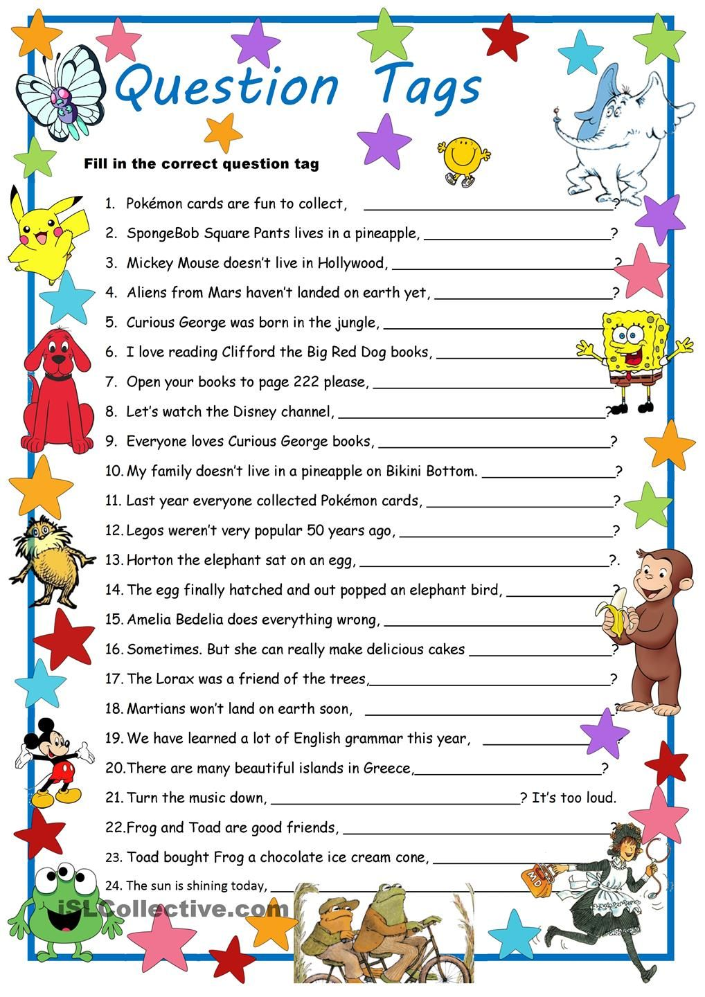 Curious George & Co. Meet Question Tags | Tag Questions | Pinterest ...
