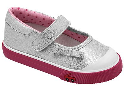 See Kai Run Bridget Silver Mary Jane Sneaker from seekairun.com - cool baby shoes, toddler shoes, kids shoes and baby booties.