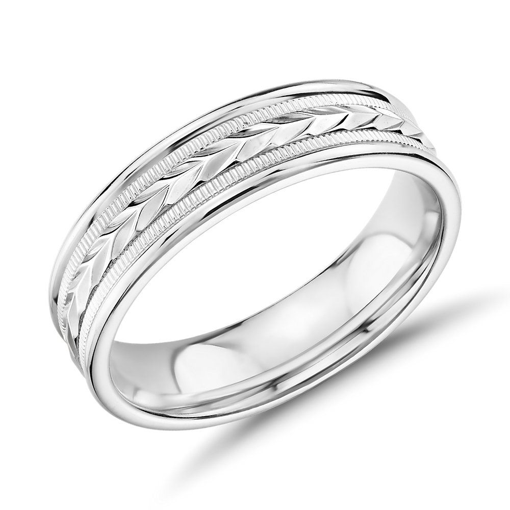 Hand Engraved Wheat And Milgrain Wedding Band In 14k White Gold 6mm Blue Nile In 2020 Mens Wedding Bands White Gold Mens Gold Wedding Band Milgrain Wedding Bands
