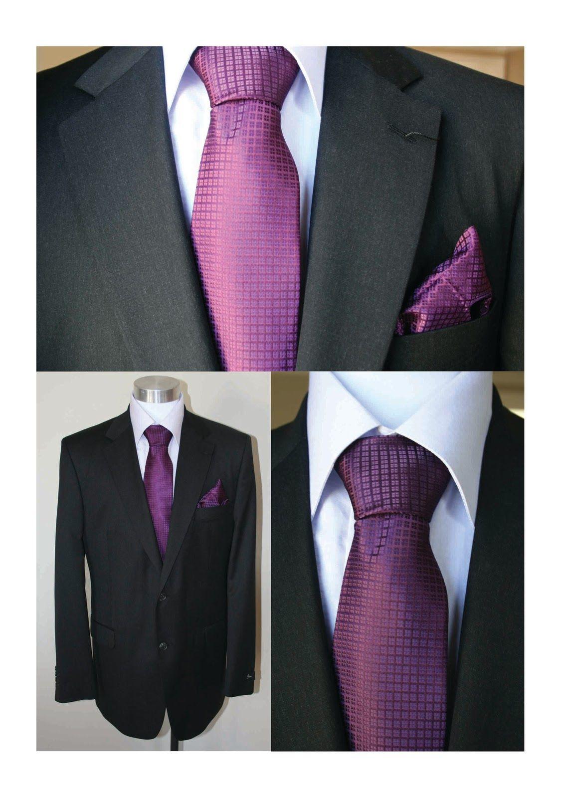 Black suits with purple ties :)