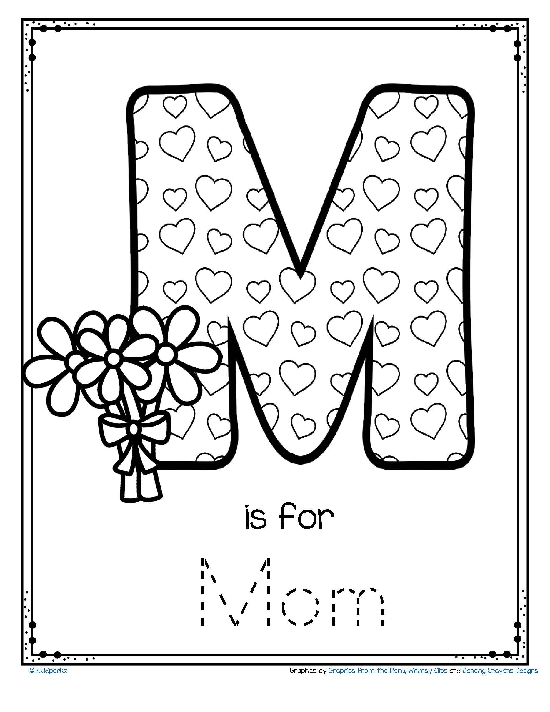 mother 39 s day poster card m is for mom trace and color free. Black Bedroom Furniture Sets. Home Design Ideas