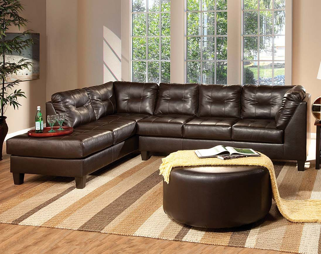 Best Dark Brown Leather Like Fabric Venus Chocolate Sectional 400 x 300