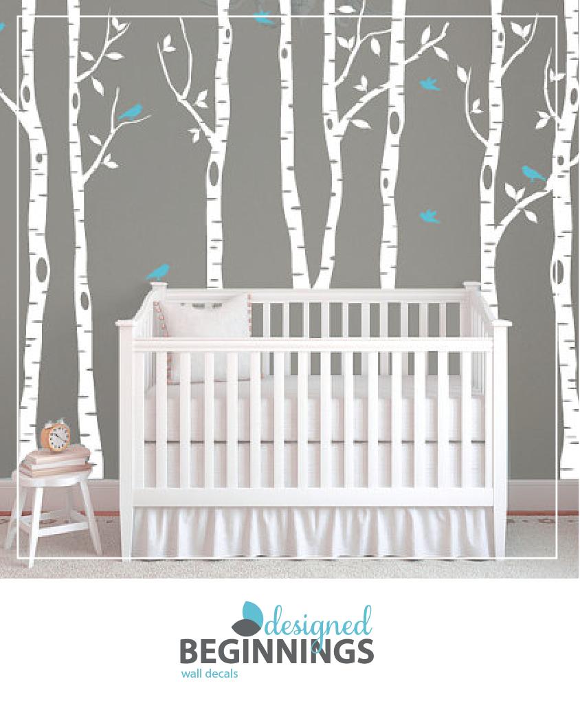 Birch Tree Wall Decals For Nursery Nursery Accent Wall Ideas