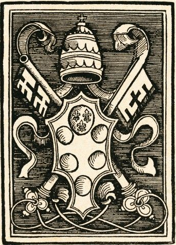 The Coat of Arms of Pope Leo X (Giovanni de Medici), taken from the titlepage of the Papal bull against Martin Luther.