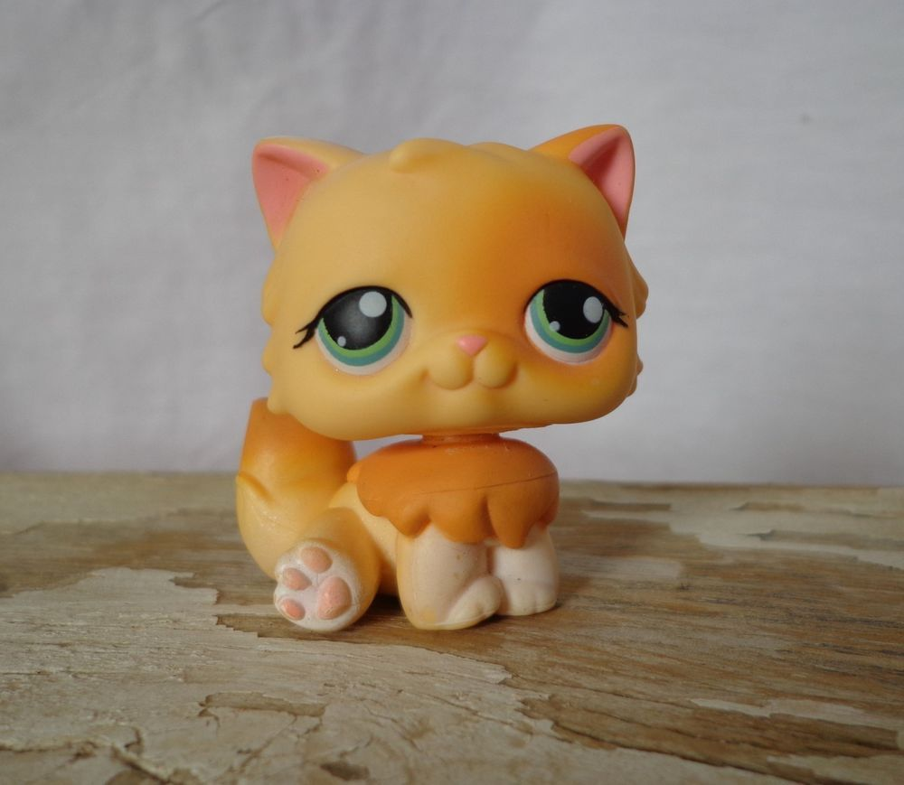 LITTLEST PET SHOP LPS 217 Orange Long Hair PERSIAN Cat w Green