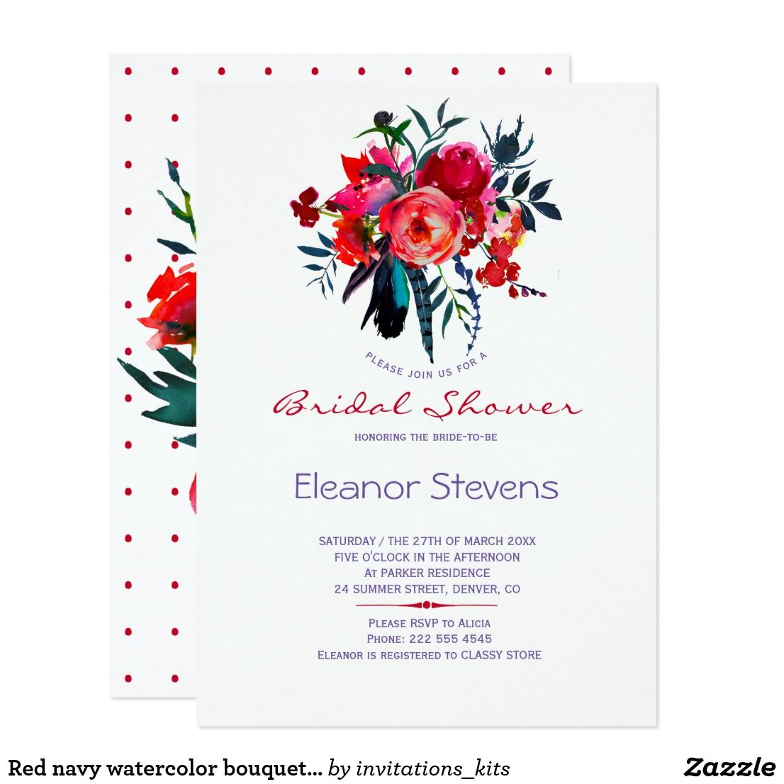 eeb8249a4c62 Red navy watercolor bouquet bridal shower invite Floral bridal shower party  invitation template with a beautiful