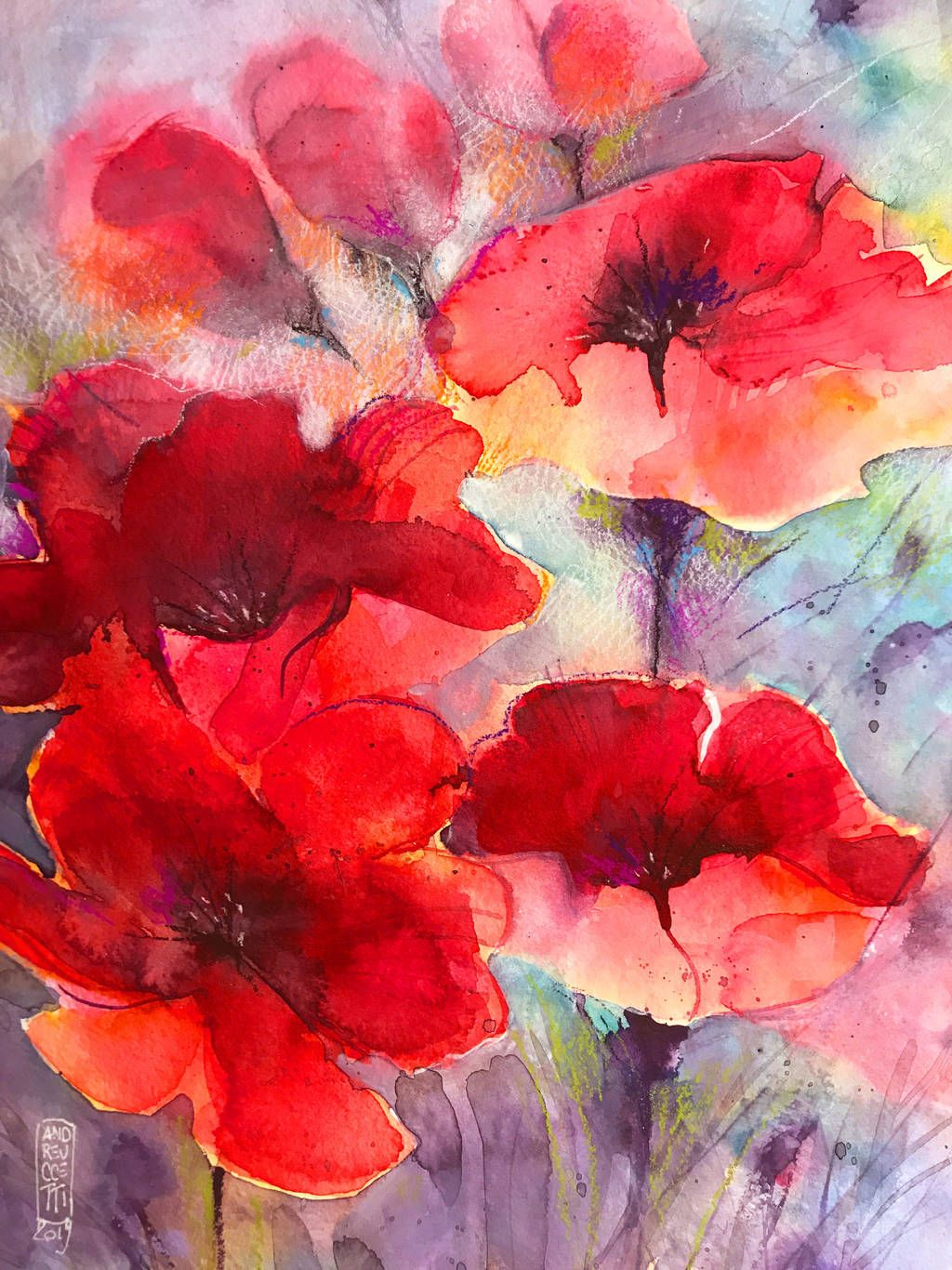 Abstract popies by andreuccettiart abstract watercolor
