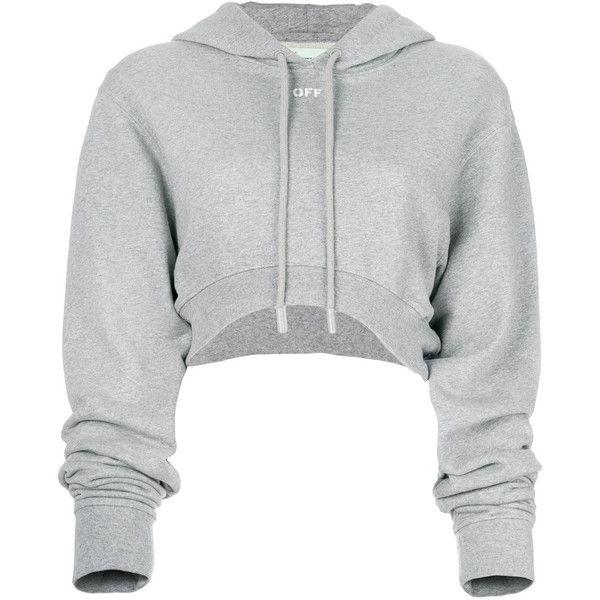 5576cc05633c8 Off-White cropped hoodie (690 CAD) ❤ liked on Polyvore featuring tops,  hoodies, grey, grey cropped hoodie, gray hoodie, long sleeve crop top,  sweatshirt ...
