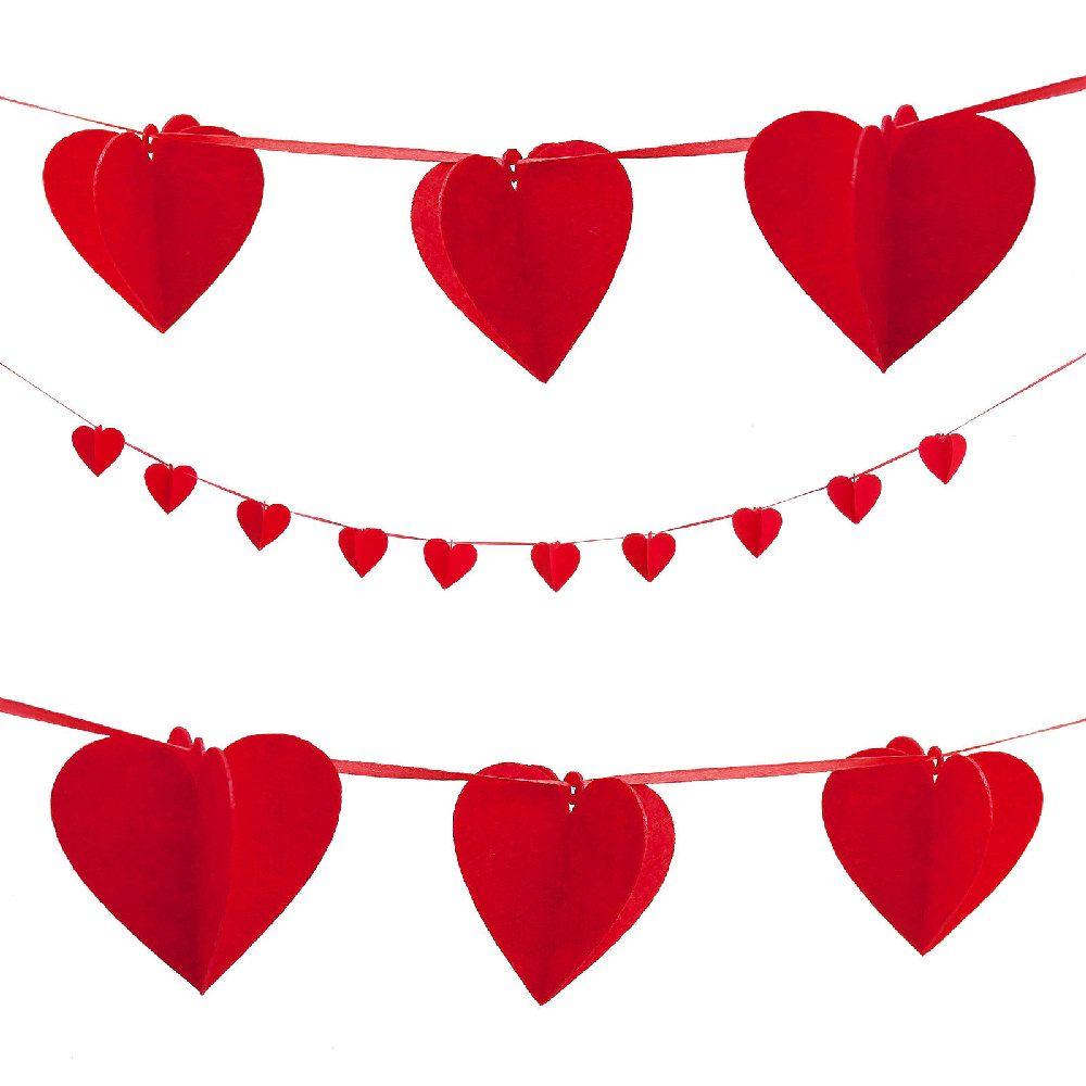 Herz Girlande 3d Herzen Hochzeit Rot In 2019 Hochzeit Deko