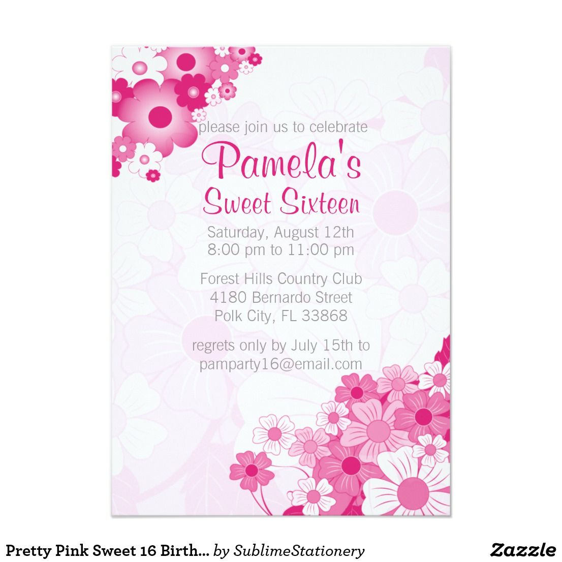 Pretty Pink Sweet 16 Birthday Party Invitations | Pink sweet 16 ...