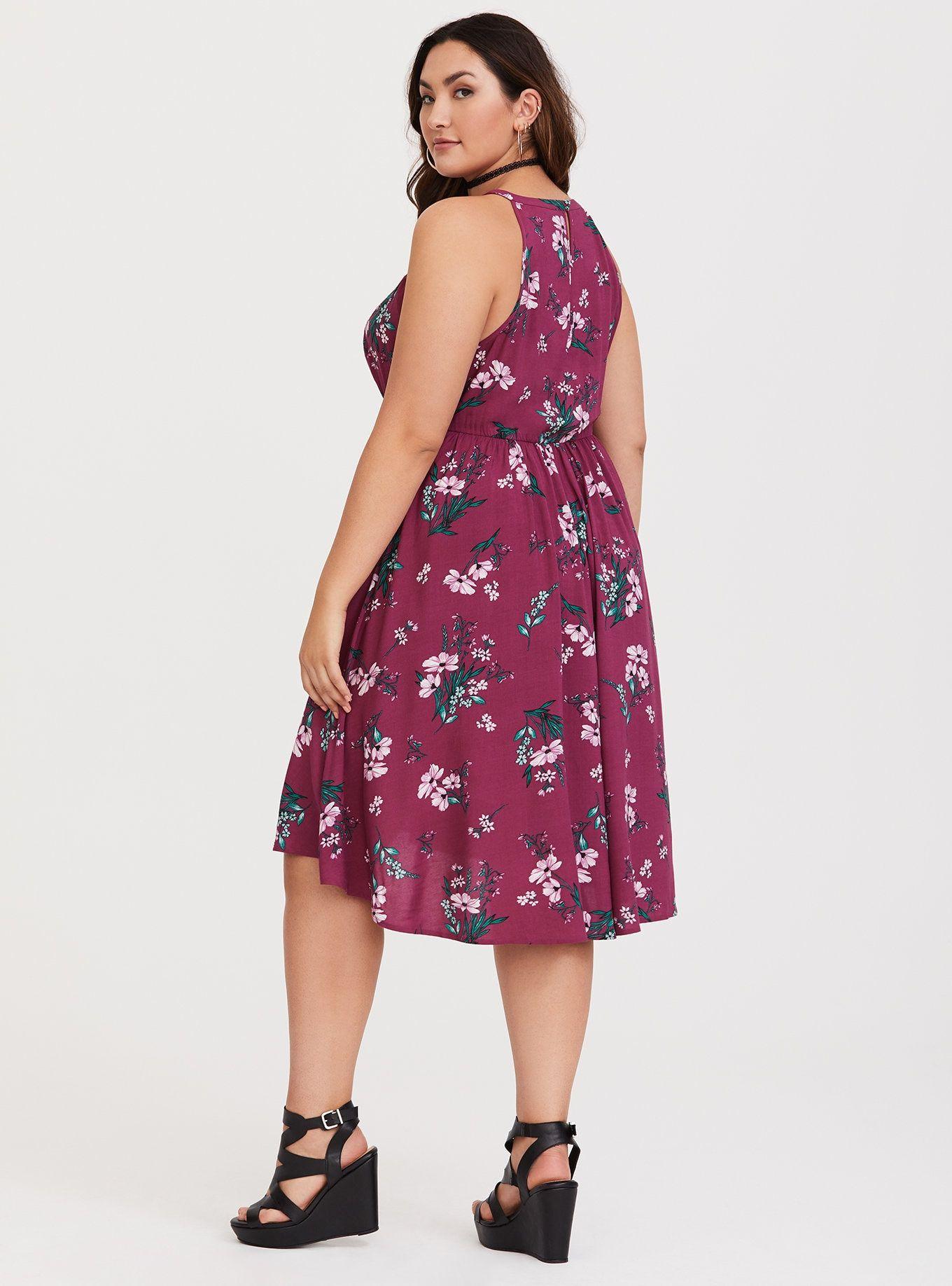 38289546016 Berry Floral Hi-Lo Challis Dress