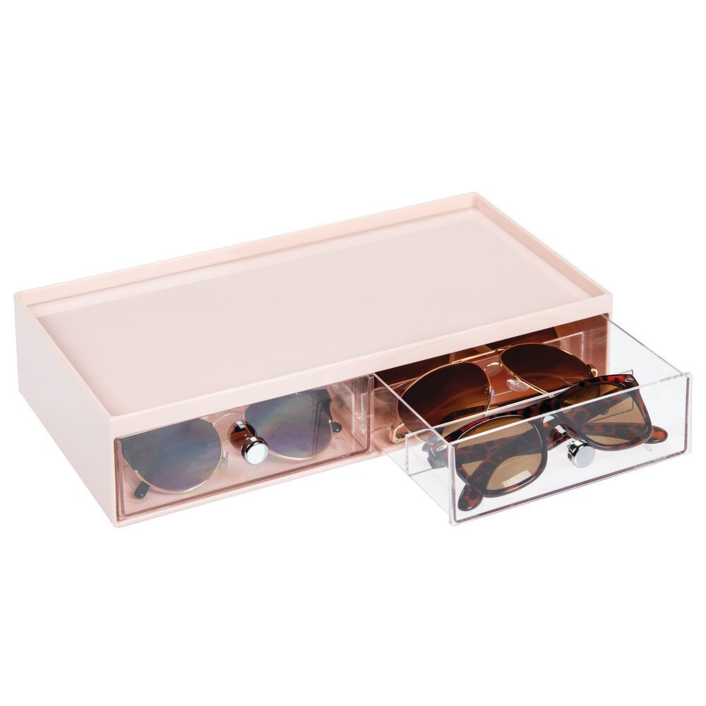 Wide Stacking Eyeglass Storage Organizer Box, 2 Drawers in White/Clear, Pack of 1, by mDesign