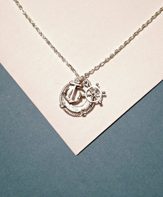 4b6516a829e9 Silver Nautical Necklace with Anchor and Steering Wheel   Lifesaver Ring