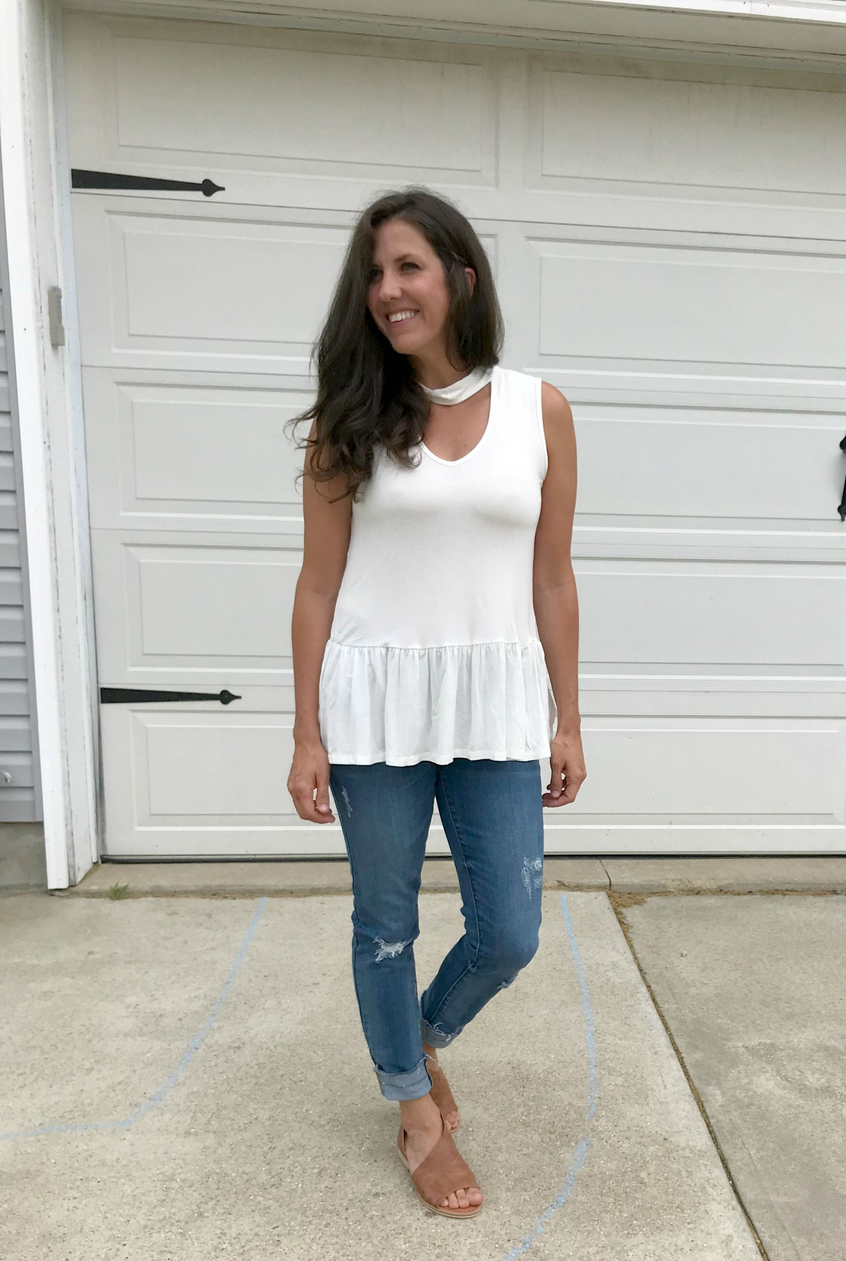 34bd3848a98558 6 Ways to Style a White Mock Neck Sleeveless Peplum Top - momma in flip  flops