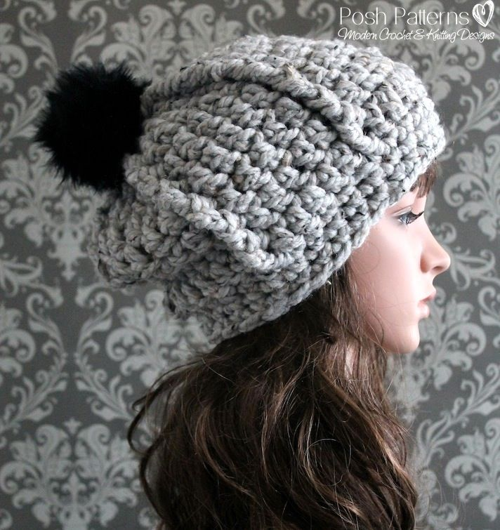 Crochet PATTERN - Beginner Crochet Slouchy Hat Pattern | Super bulky ...