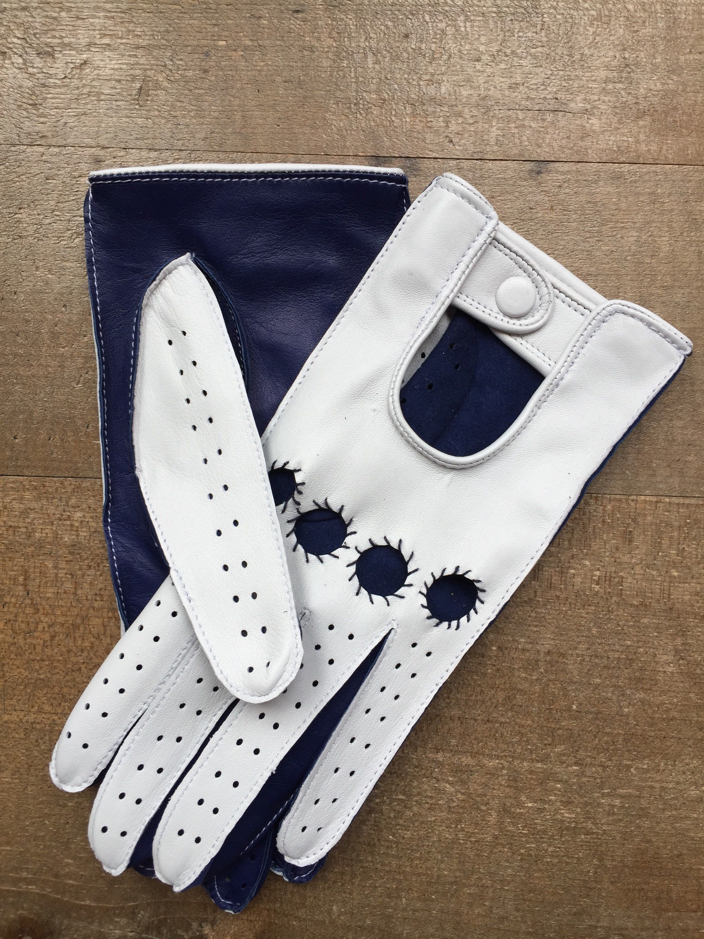 Leather driving gloves for ladies navy and white gift for her