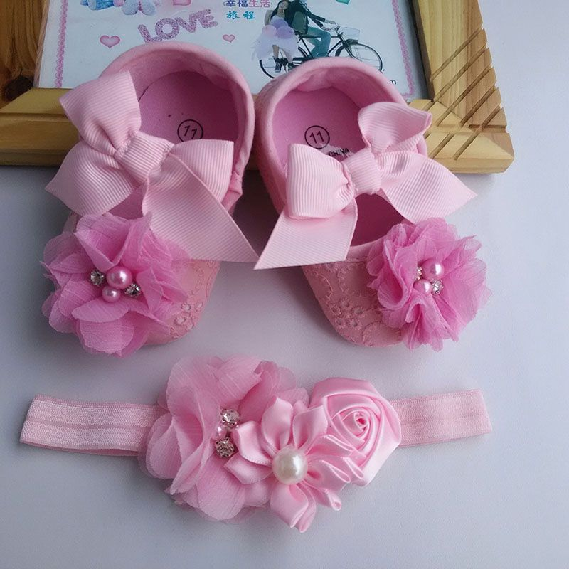 Shoes baby hair accessories setToddler flowers Baby Girl Shoes;Baby lace bow Christening  cute baptism Ballerina shoes