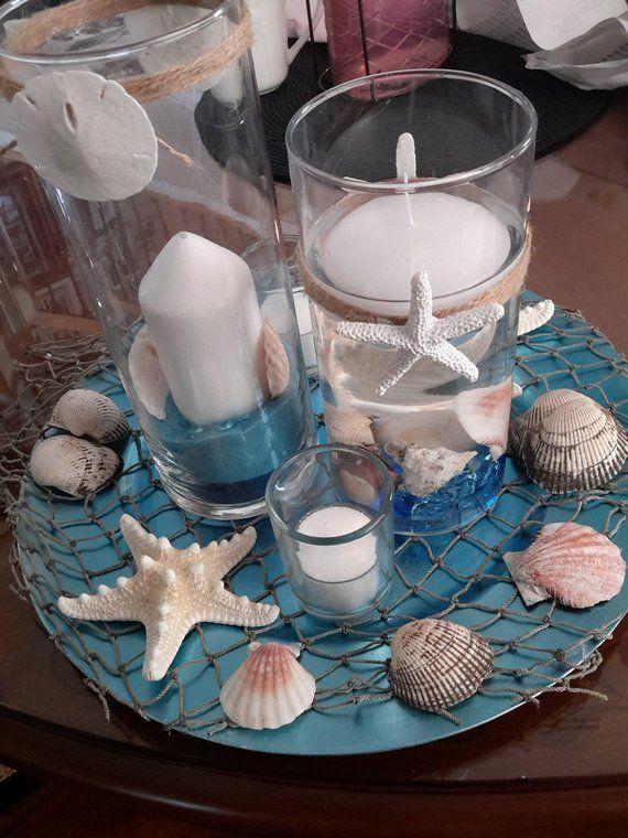 Photo of Beach Candle Seashell Cylinder Vase Centerpiece Set-Wedding–Floating Candle-Party-Birthday-Anniversary-Birthday-Sweet 16-Beach Wedding