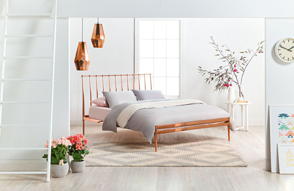 metallic rose gold bed  Google Search  ROOMSPIRATION  Bed Frame Copper bed frame Rose