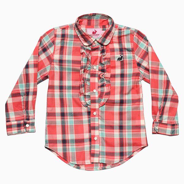 Camisa Social Infantil com Babado Frufru Vermelho - Missfloor