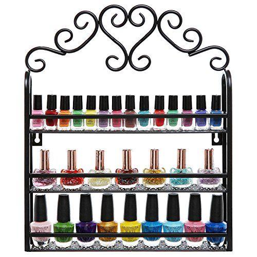 Nice Decorative Black Scrollwork Design 3 Tier Metal Makeup Storage Organizer /  Nail Salon Polish Display Rack Idea