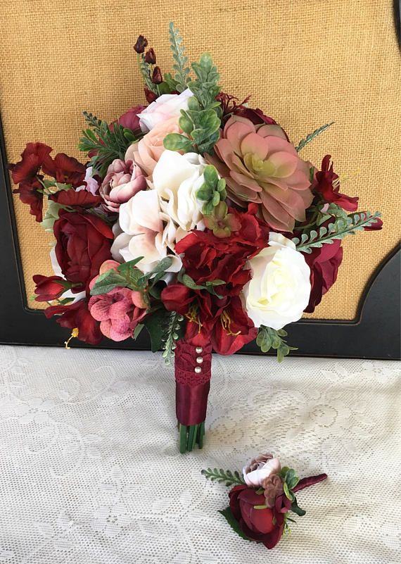 Wedding Bouquet, Bridal Bouquet, Blush & Burgundy Wedding Flowers ...