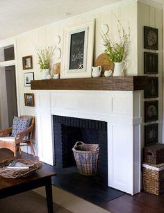 chemin e en briques peinte en noir home sweet home pinterest foyer maison et brique. Black Bedroom Furniture Sets. Home Design Ideas