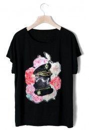 Rose Print Black T-shirt