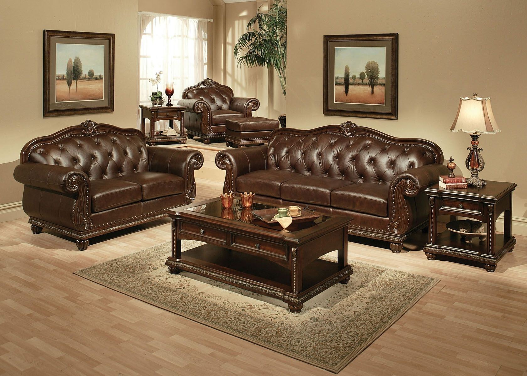 Acme Dresden Traditional Old World Brown Faux Leather Chenille SOFA LOVESEAT